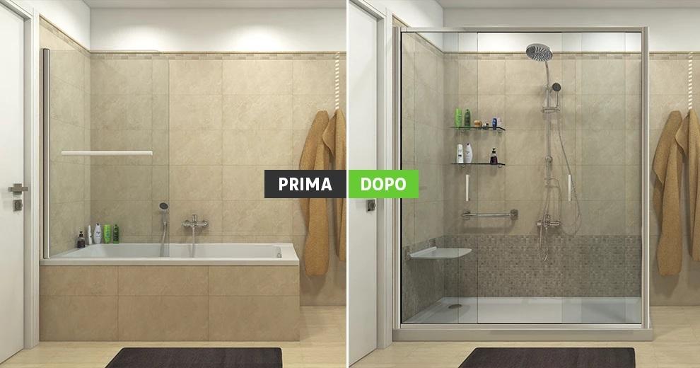 Sostituzione vasca con doccia trasformazione spazio - Da vasca da bagno a doccia ...